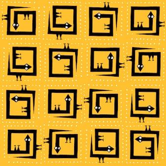 Lagartos de desenho de mão de padrão vetorial sem emenda