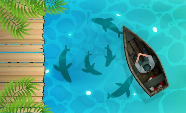 Lago com píer de madeira e pescador em um barco