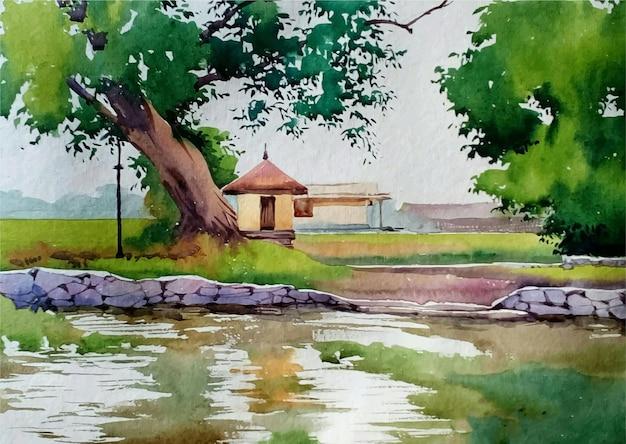 Lagoa em aquarela no parque.