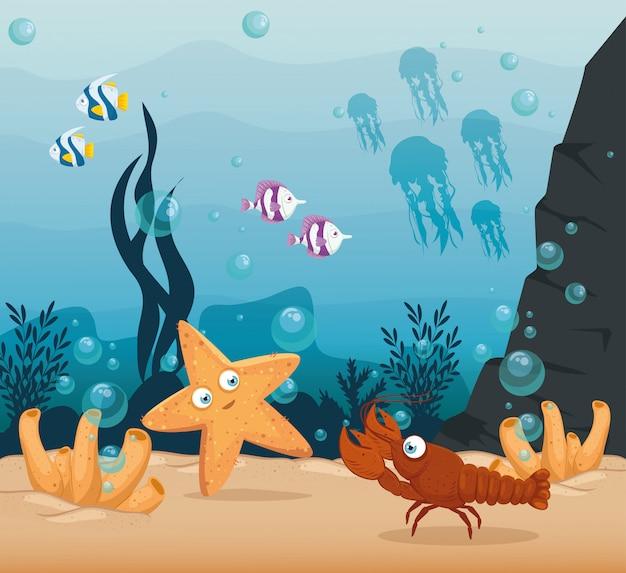 Lagosta e animais marinhos no oceano, habitantes do mundo marinho, criaturas subaquáticas fofas, fauna submarina