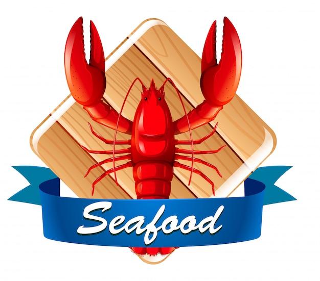 Lagosta no ícone de frutos do mar