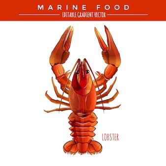 Lagosta vermelha. alimentos marinhos