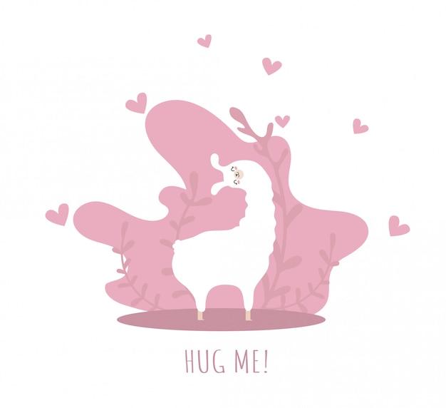 Lama apaixonada por corações e muitos detalhes. me abrace. alpaca fofa.