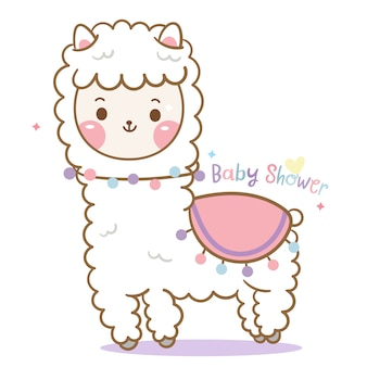Lama bonito, desenhos animados da alpaca