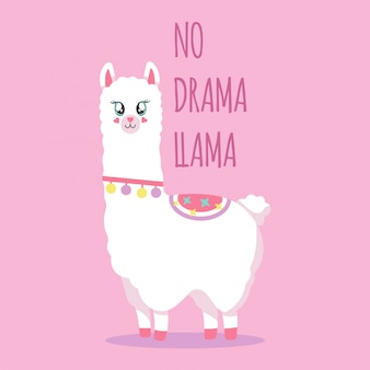Lama bonito em um fundo rosa, ilustração com a frase sem drama lama