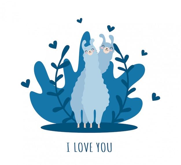 Lama com alpaca e corações e muitos detalhes. eu te amo