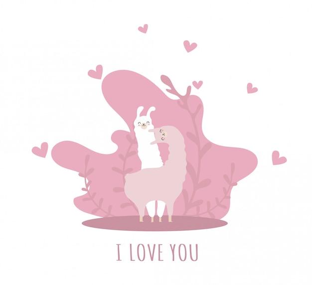 Lama com corações e muitos detalhes. alpaca engraçada. olá primavera.