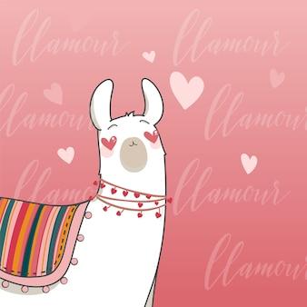 Lama em estilo cartoon. lama apaixonado com o coração nos olhos. mão-extraídas ilustração vetorial. elementos para cartão postal, cartaz, banners. design de camiseta, caderno e adesivo