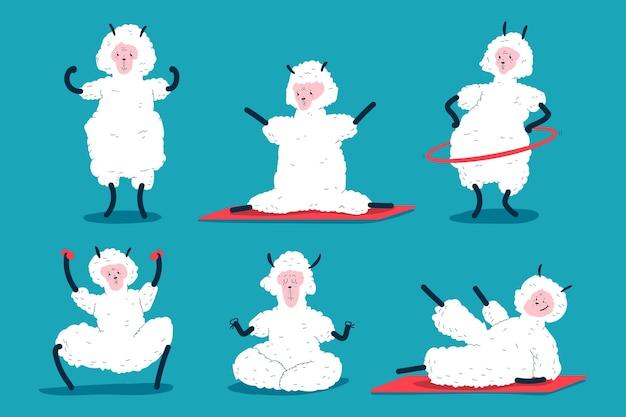 Lama engraçado fazendo exercícios de fitness e ioga conjunto de personagens de desenhos animados de vetor isolado no fundo.
