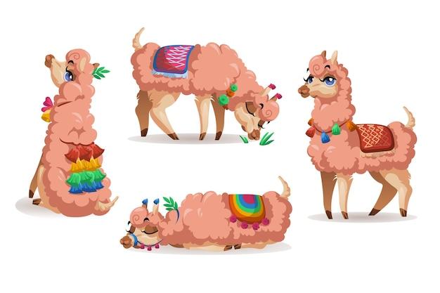 Lama, peru e alpaca, conjunto de animais