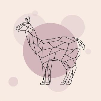 Lama vista lateral estilo geométrico