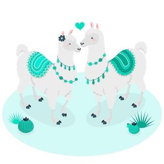 Lamas na ilustração do conceito de amor