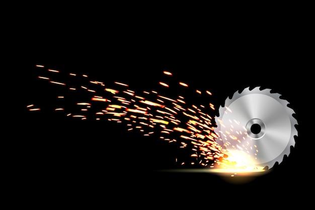 Lâmina de serra circular, trabalho de metal, faísca de fogo de soldagem
