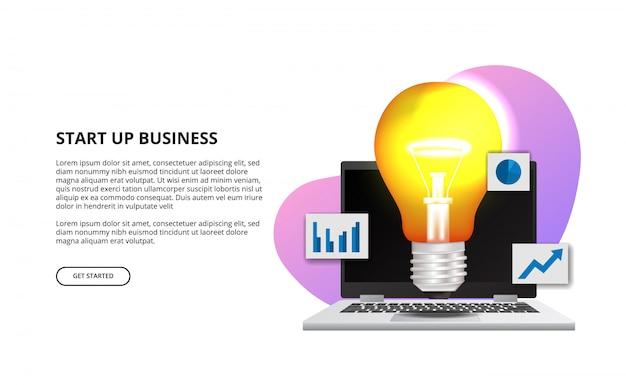Lâmpada 3d com laptop para negócios iniciar ilustração idéia