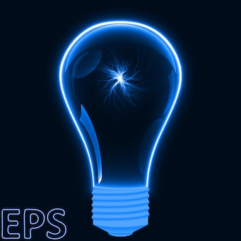 Lâmpada azul brilhante com vortex de energia dentro.