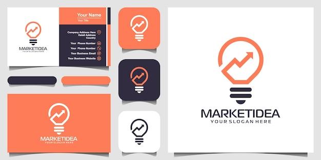Lâmpada bulbo com logotipo de seta e design de cartão de visita