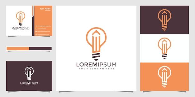 Lâmpada bulbo criativa com logotipo de lápis e design de cartão de visita