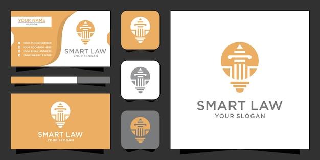 Lâmpada bulbo e logotipo do pilar com cartão de visita