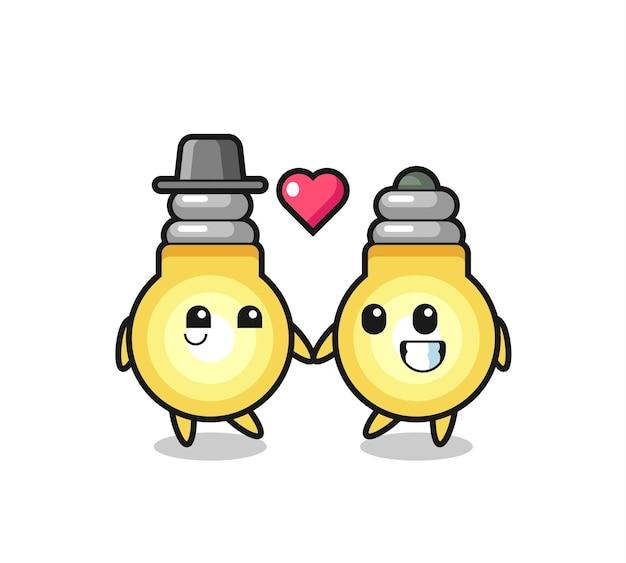 Lâmpada casal de personagens de desenho animado com gesto de amor, design de estilo fofo para camiseta, adesivo, elemento de logotipo