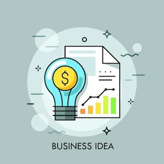 Lâmpada, cifrão e documento com tabelas, gráficos. ideia de negócio, pensamento moderno, conceito de processamento de dados estatísticos.
