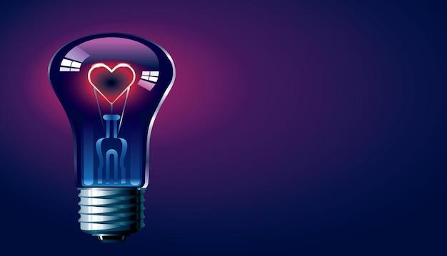 Lâmpada com coração brilhante