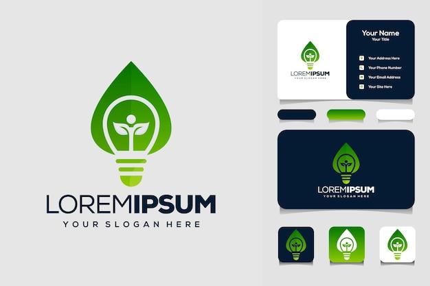 Lâmpada com folhas modelo de design de logotipo humano e cartão de visita
