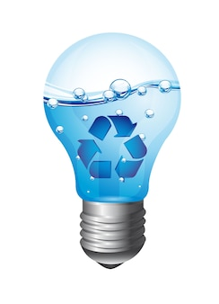 Lâmpada com lâmpada de reciclagem isolada