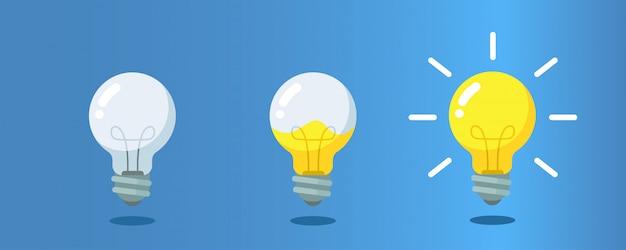Lâmpada com líquido dentro de etapas para criatividade, conceito de obter ideias.