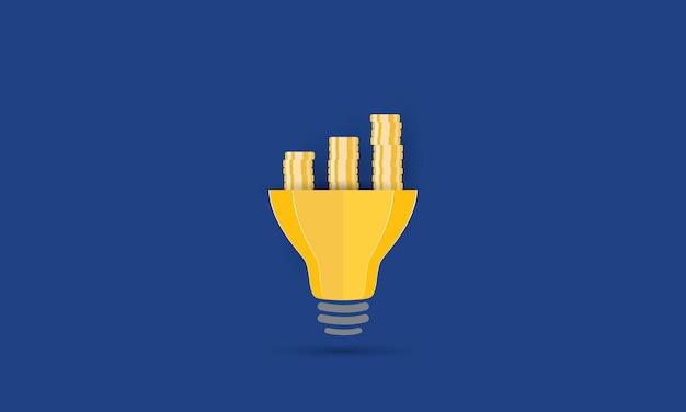 Lâmpada com pilha de moedas de ouro, ideia criativa, conceito, inspiração, negócios