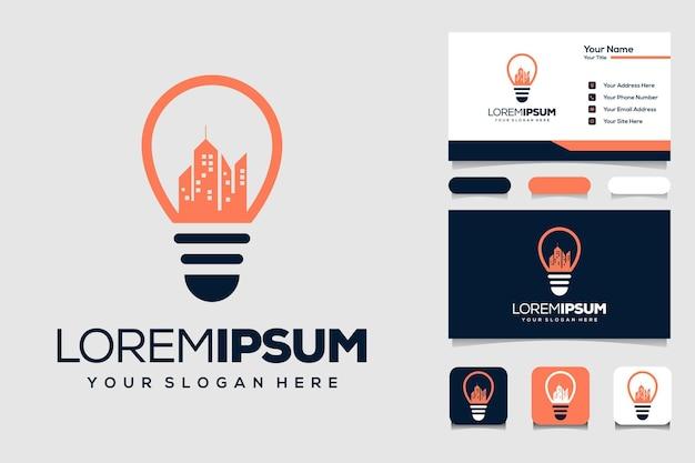 Lâmpada criativa com construção de modelo de design de logotipo e cartão de visita