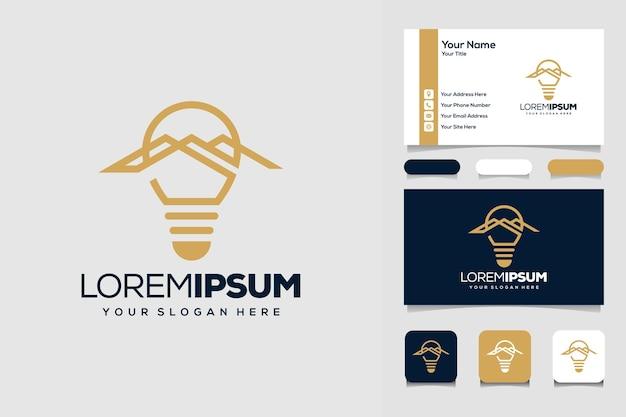 Lâmpada criativa com modelo de design de logotipo de montanha e carro de negócios