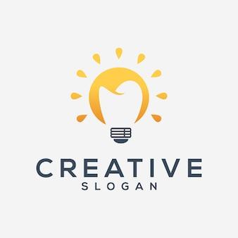 Lâmpada criativa e modelo de logotipo dental