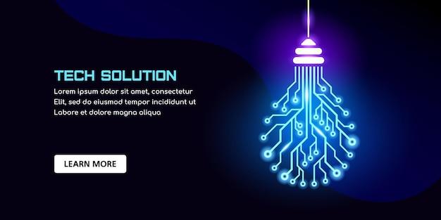 Lâmpada da placa de circuito impresso. bandeira do conceito de solução de tecnologia. modelo de design de tecnologia com lugar para texto