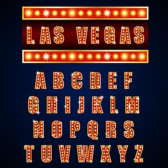 Lâmpada de alfabetos de luz néon de ouro sobre fundo azul