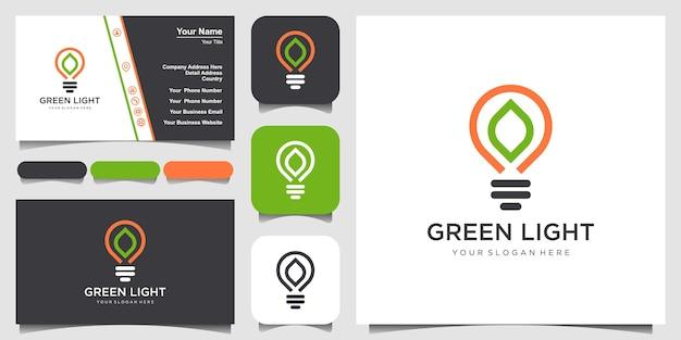 Lâmpada de bulbo abstrato criativo com logotipo de estilo de arte de linha de folha e vetor de design de cartão de visita.
