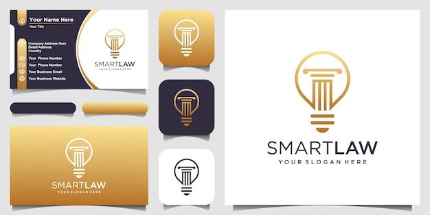 Lâmpada de bulbo criativo e logotipo do pilar e design de cartão de visita.