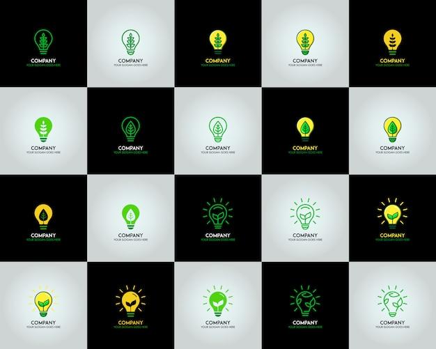 Lâmpada de bulbo de ecologia com logotipo de folha