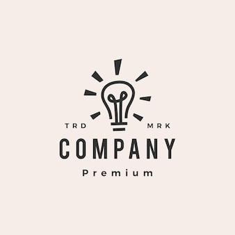 Lâmpada de bulbo ideia inteligente pense modelo de logotipo vintage moderno