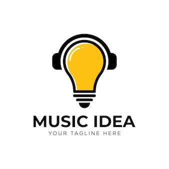 Lâmpada de fones de ouvido, ideia de música, ícone de design de logotipo, inspiração