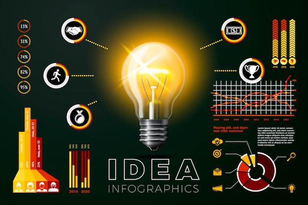 Lâmpada de ideia brilhante de vidro 3d realista de vetor com gráficos e ícones de infográficos de negócios