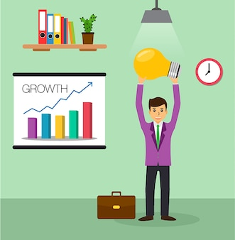 Lâmpada de ideia de empresário, vetor de design plano de escritório