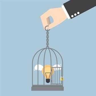 Lâmpada de ideia trancada em uma jaula