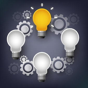 Lâmpada de infográfico de vetor com comunicação de engrenagem, conceito de brainstorm