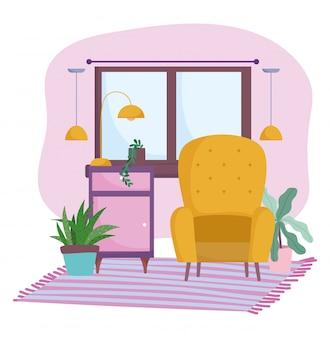 Lâmpada de janela de cadeira de móveis de sala de casa e plantas no interior de decoração de chão