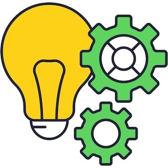 Lâmpada de lâmpada elétrica e ícone de contorno de vetor de engrenagem