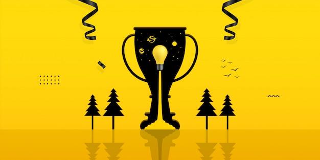 Lâmpada de lançamento dentro do buraco do troféu em fundo amarelo