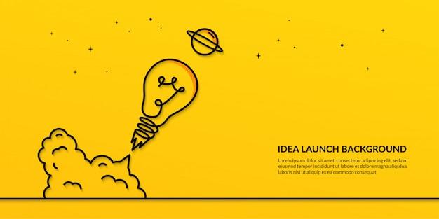 Lâmpada de lançamento para o banner do espaço, idéia de arranque plana