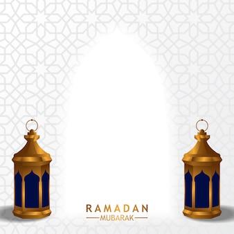Lâmpada de lanterna árabe fanous dourado com fundo branco para o ramadã