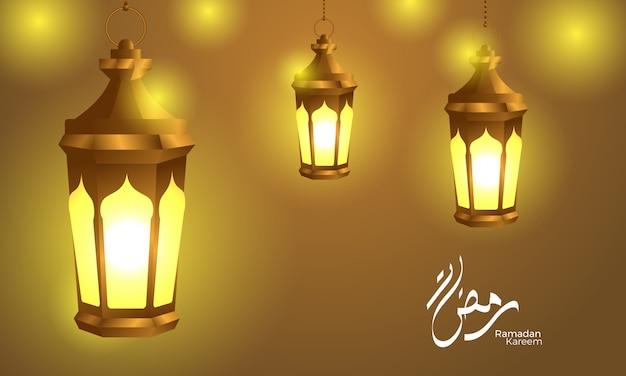 Lâmpada de lanterna brilhante com caligrafia ramadan