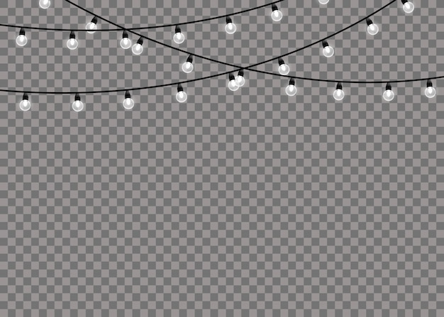 Lâmpada de luz de brilho branco em fundo transparente de cordas de arame. decorações de guirlandas. luzes de natal isolaram elementos realistas. guirlanda de natal brilhante. ilustração.